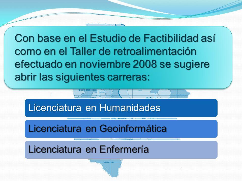 Con base en el Estudio de Factibilidad así como en el Taller de retroalimentación efectuado en noviembre 2008 se sugiere abrir las siguientes carreras