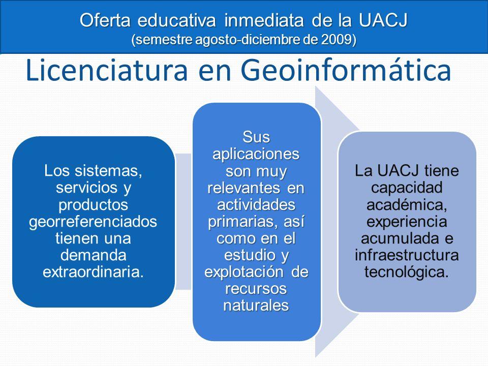 Licenciatura en Geoinformática Los sistemas, servicios y productos georreferenciados tienen una demanda extraordinaria. Sus aplicaciones son muy relev