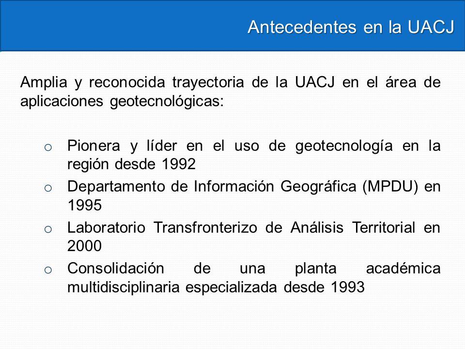 Antecedentes en la UACJ Antecedentes en la UACJ Amplia y reconocida trayectoria de la UACJ en el área de aplicaciones geotecnológicas: o Pionera y líd