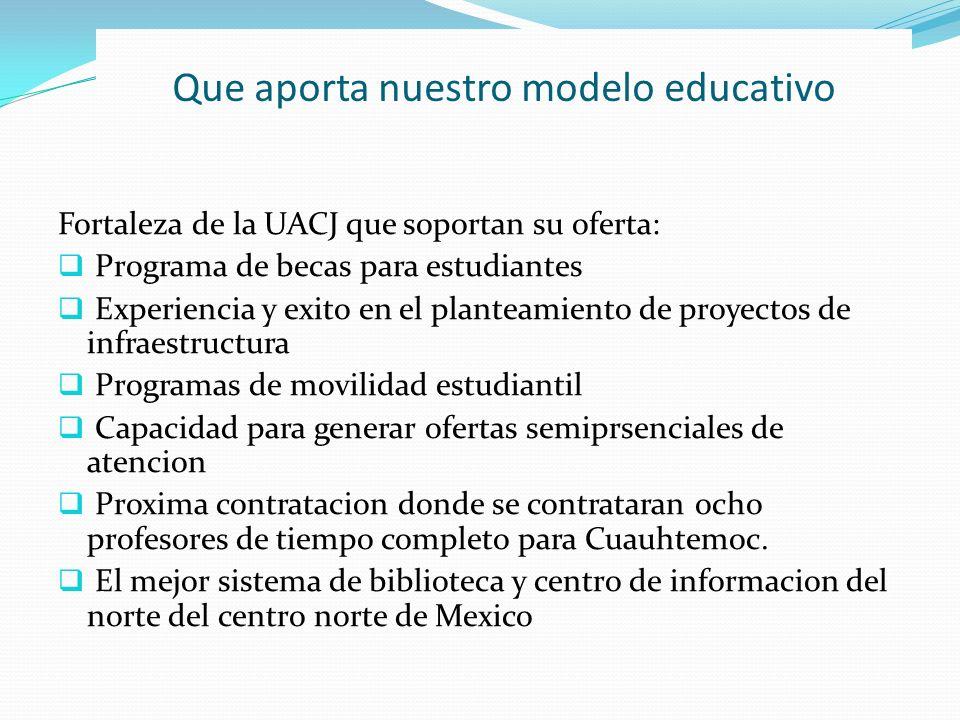 Que aporta nuestro modelo educativo Fortaleza de la UACJ que soportan su oferta: Programa de becas para estudiantes Experiencia y exito en el planteam