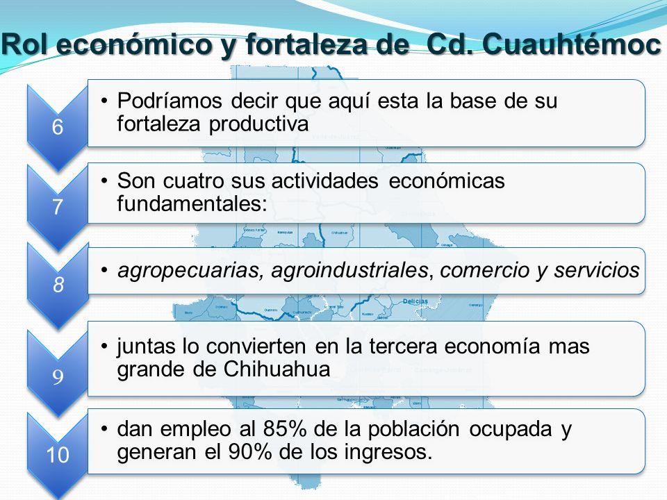 Rol y fortalezas económicas Las actividades más productivas son la fruticultura, en especial la producción de manzana, que contribuye a que Chihuahua sea el primer productor nacional.