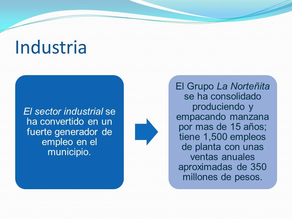 Industria El sector industrial se ha convertido en un fuerte generador de empleo en el municipio. El Grupo La Norteñita se ha consolidado produciendo