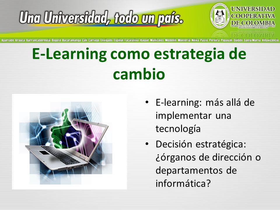 E-Learning como estrategia de cambio E-learning: más allá de implementar una tecnología Decisión estratégica: ¿órganos de dirección o departamentos de