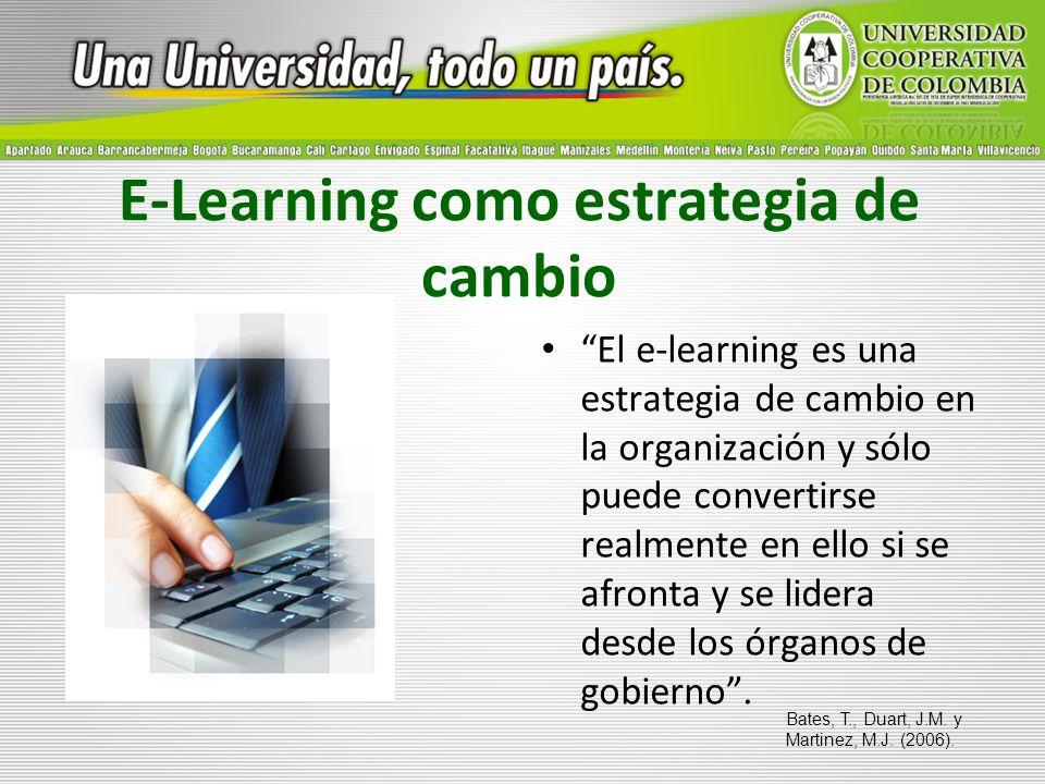 E-Learning como estrategia de cambio El e-learning es una estrategia de cambio en la organización y sólo puede convertirse realmente en ello si se afr