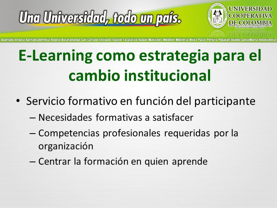 E-Learning como estrategia para el cambio institucional Servicio formativo en función del participante – Necesidades formativas a satisfacer – Compete
