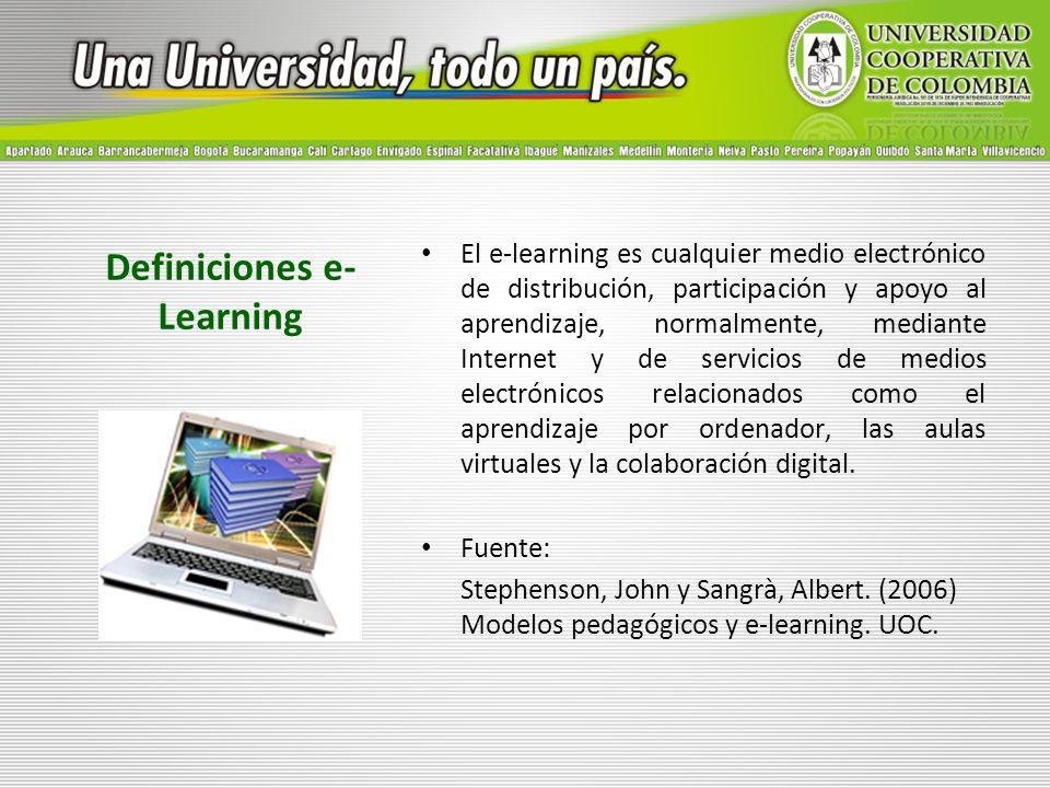 Definiciones e- Learning El e-learning es cualquier medio electrónico de distribución, participación y apoyo al aprendizaje, normalmente, mediante Int