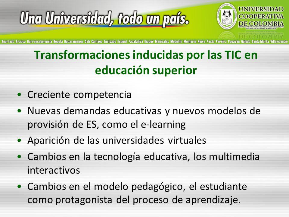 Transformaciones inducidas por las TIC en educación superior Creciente competencia Nuevas demandas educativas y nuevos modelos de provisión de ES, com