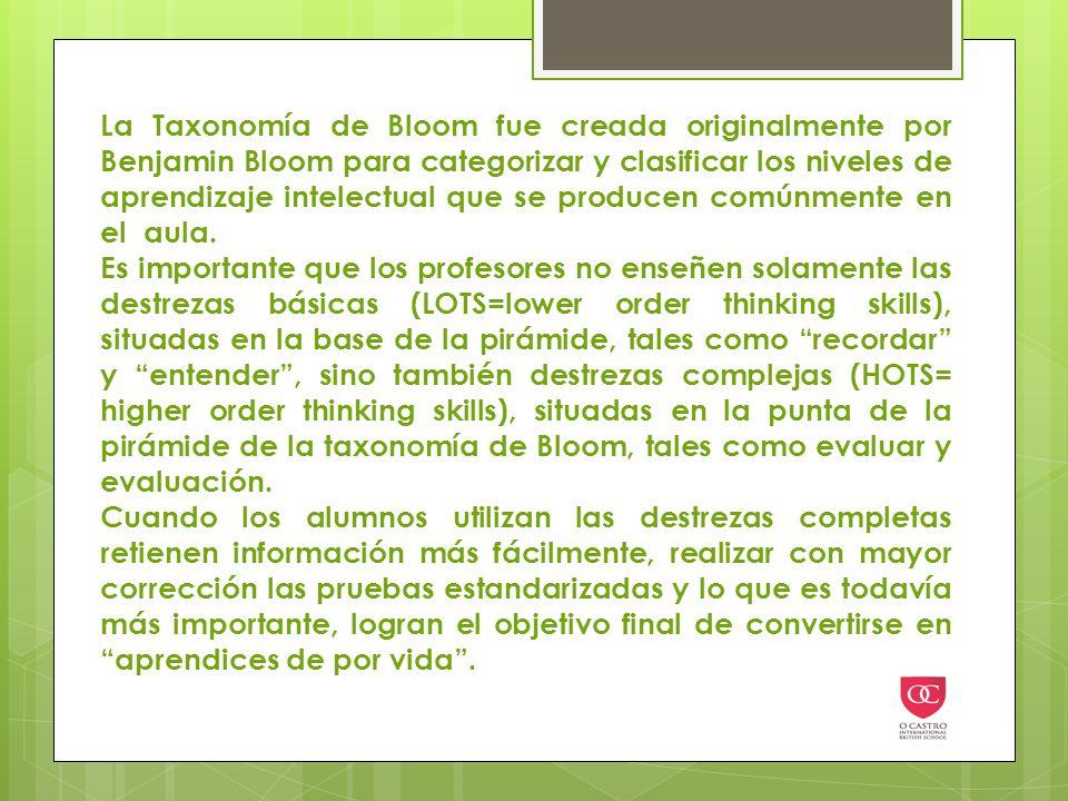 La Taxonomía de Bloom fue creada originalmente por Benjamin Bloom para categorizar y clasificar los niveles de aprendizaje intelectual que se producen comúnmente en el aula.