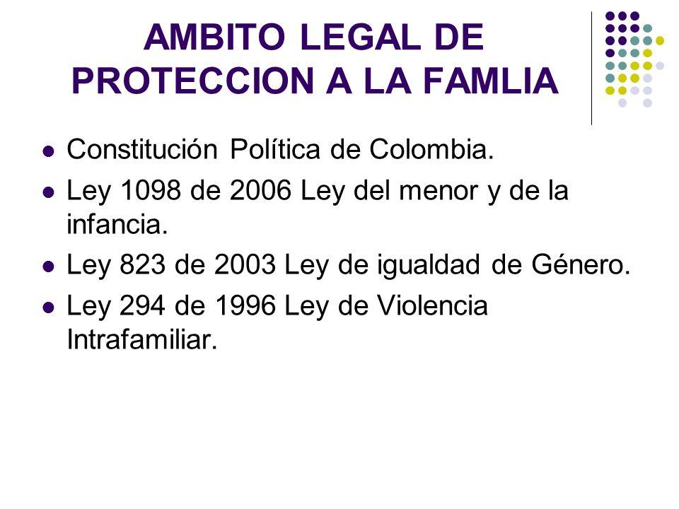AMBITO LEGAL DE PROTECCION A LA FAMLIA Constitución Política de Colombia. Ley 1098 de 2006 Ley del menor y de la infancia. Ley 823 de 2003 Ley de igua