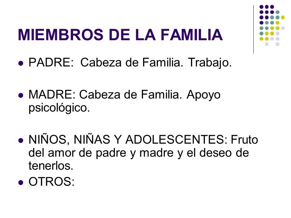 MIEMBROS DE LA FAMILIA PADRE: Cabeza de Familia. Trabajo. MADRE: Cabeza de Familia. Apoyo psicológico. NIÑOS, NIÑAS Y ADOLESCENTES: Fruto del amor de