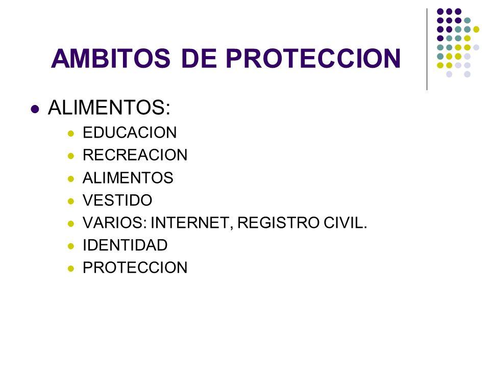 AMBITOS DE PROTECCION ALIMENTOS: EDUCACION RECREACION ALIMENTOS VESTIDO VARIOS: INTERNET, REGISTRO CIVIL. IDENTIDAD PROTECCION