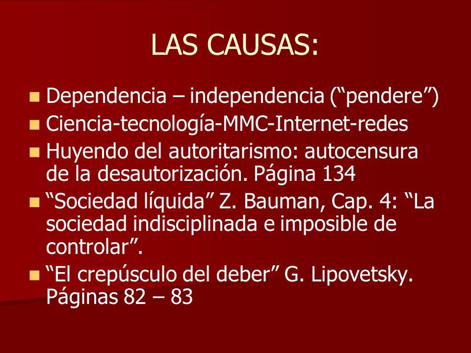 LAS CAUSAS: Dependencia – independencia (pendere) Ciencia-tecnología-MMC-Internet-redes Huyendo del autoritarismo: autocensura de la desautorización.