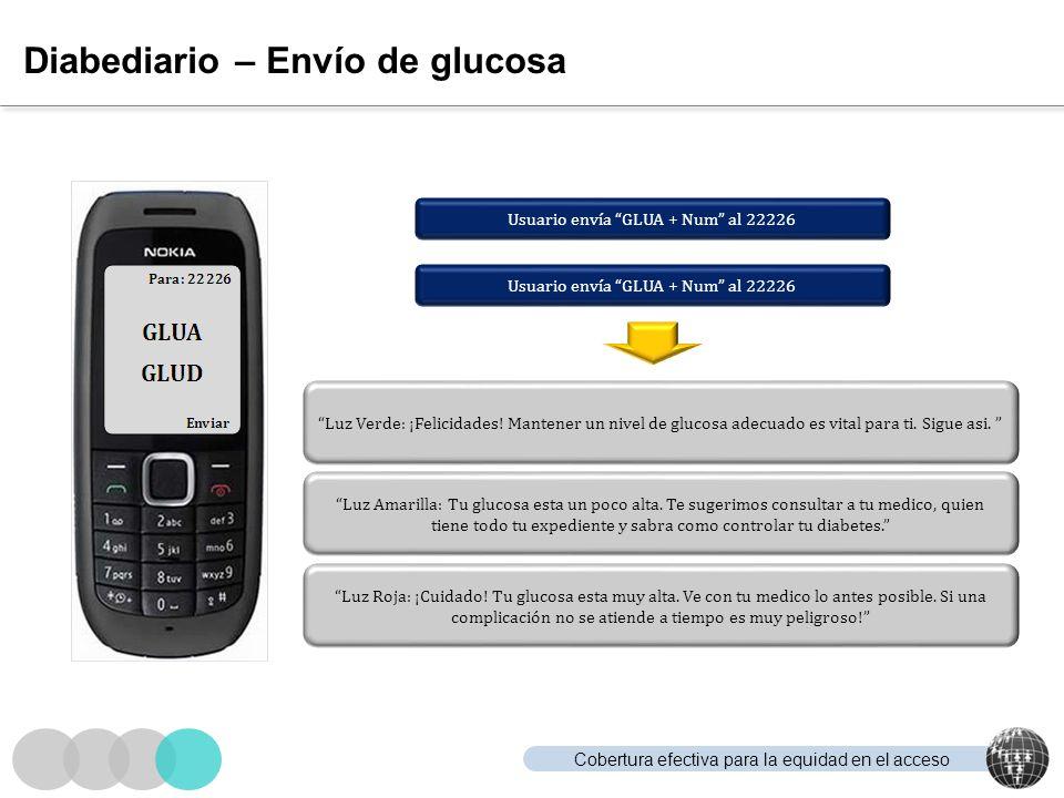 Cobertura efectiva para la equidad en el acceso Diabediario – Envío de glucosa Usuario envía GLUA + Num al 22226 Luz Verde: ¡Felicidades! Mantener un