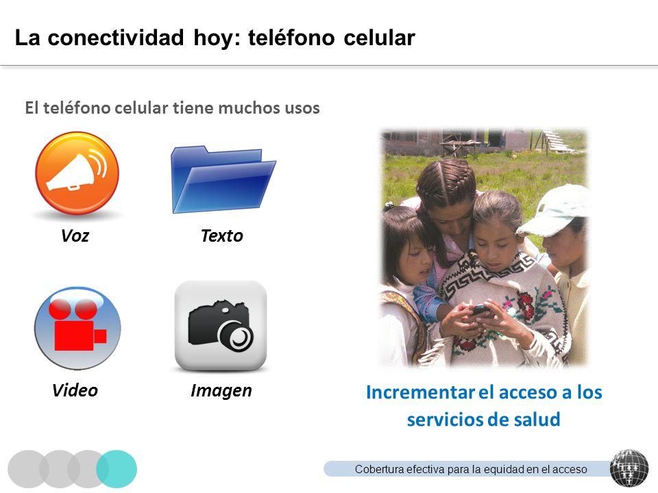 Cobertura efectiva para la equidad en el acceso La conectividad hoy: teléfono celular El teléfono celular tiene muchos usos Incrementar el acceso a lo