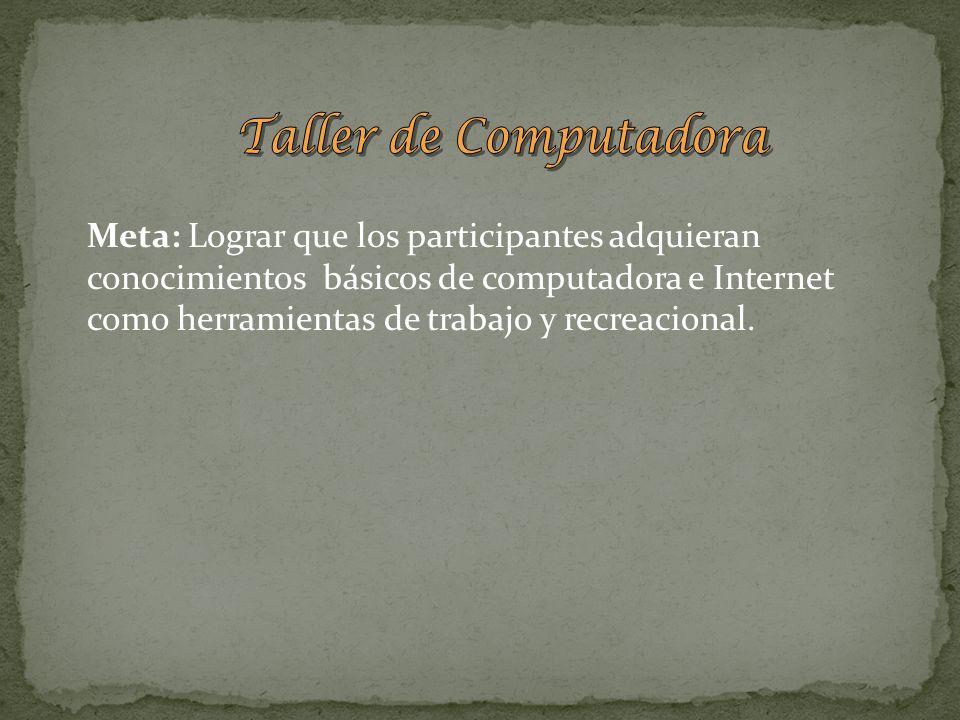 Meta: Lograr que los participantes adquieran conocimientos básicos de computadora e Internet como herramientas de trabajo y recreacional.