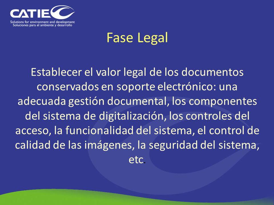 Fase Legal Establecer el valor legal de los documentos conservados en soporte electrónico: una adecuada gestión documental, los componentes del sistem