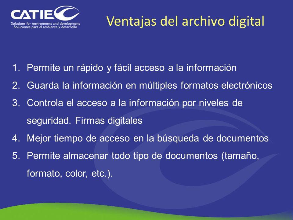 Ventajas del archivo digital 1.Permite un rápido y fácil acceso a la información 2.Guarda la información en múltiples formatos electrónicos 3.Controla