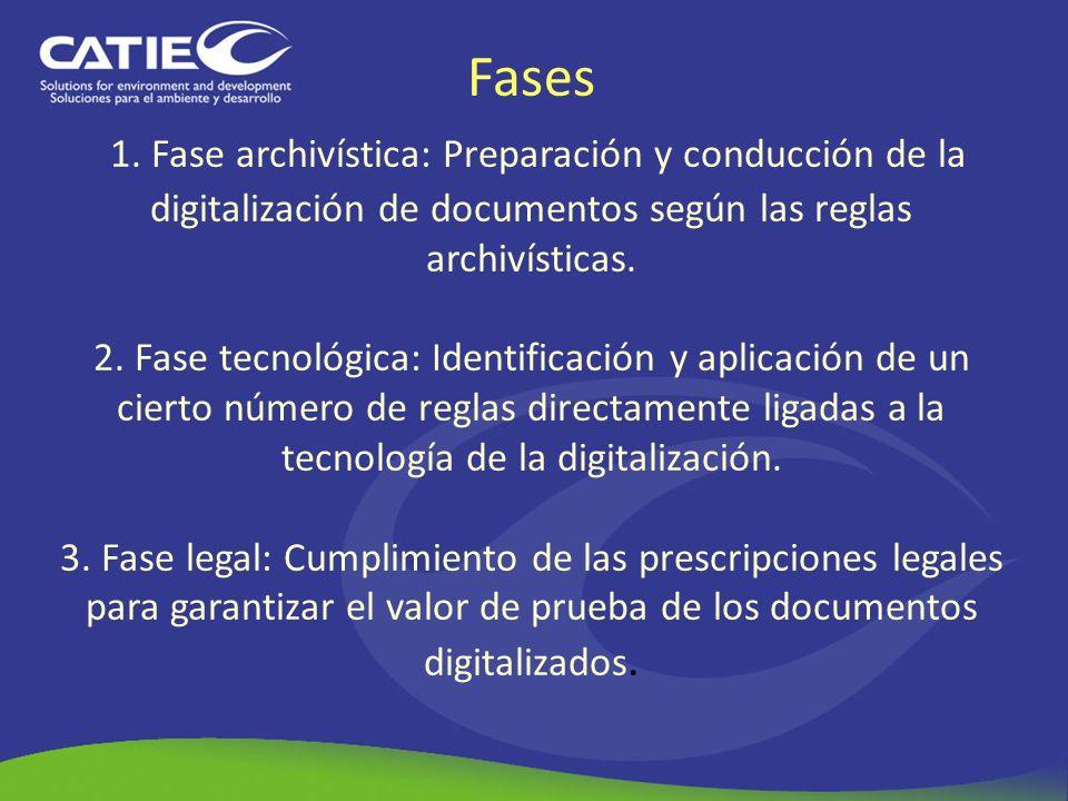 Fases 1. Fase archivística: Preparación y conducción de la digitalización de documentos según las reglas archivísticas. 2. Fase tecnológica: Identific