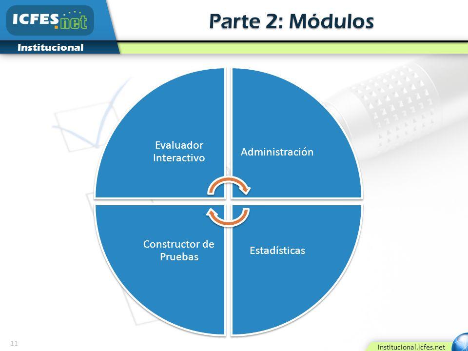 11 institucional.icfes.net Institucional Parte 2: Módulos Evaluador Interactivo Administración Estadísticas Constructor de Pruebas