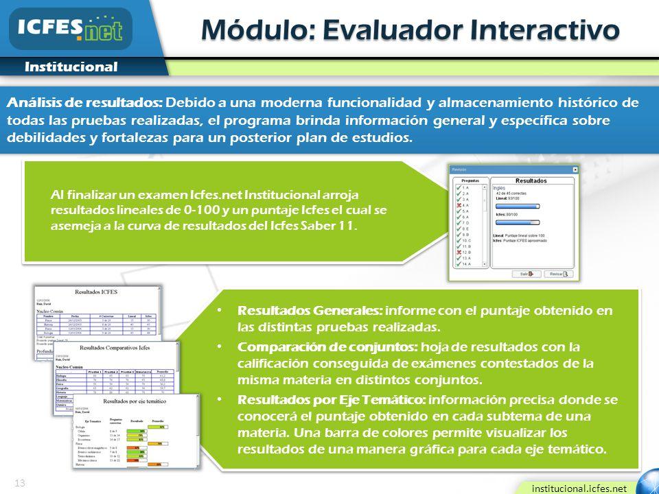 13 institucional.icfes.net Institucional Módulo: Evaluador Interactivo Al finalizar un examen Icfes.net Institucional arroja resultados lineales de 0-