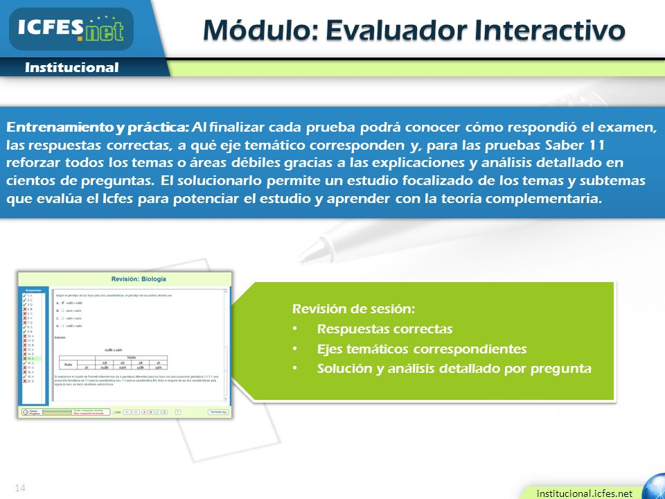 14 institucional.icfes.net Institucional Módulo: Evaluador Interactivo Revisión de sesión: Respuestas correctas Ejes temáticos correspondientes Soluci