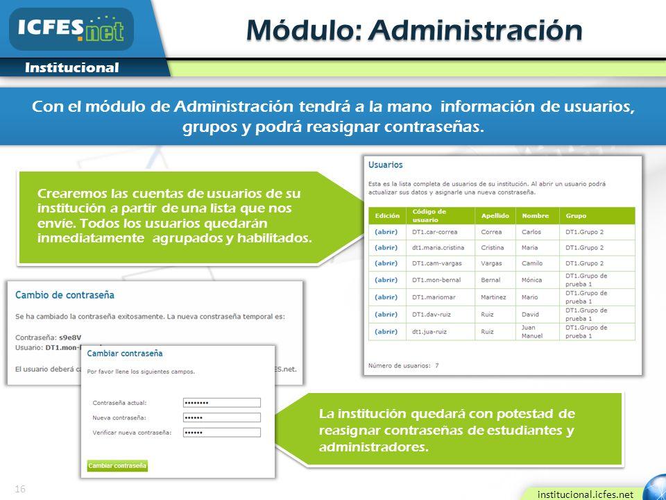 16 institucional.icfes.net Institucional Módulo: Administración Con el módulo de Administración tendrá a la mano información de usuarios, grupos y pod