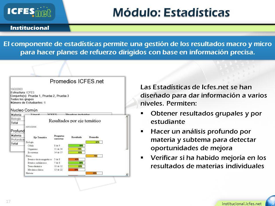 17 institucional.icfes.net Institucional Módulo: Estadísticas El componente de estadísticas permite una gestión de los resultados macro y micro para h