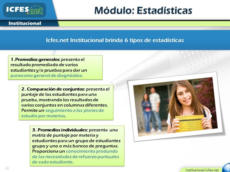 18 institucional.icfes.net Institucional Módulo: Estadísticas Icfes.net Institucional brinda 6 tipos de estadísticas 1.Promedios generales: presenta e