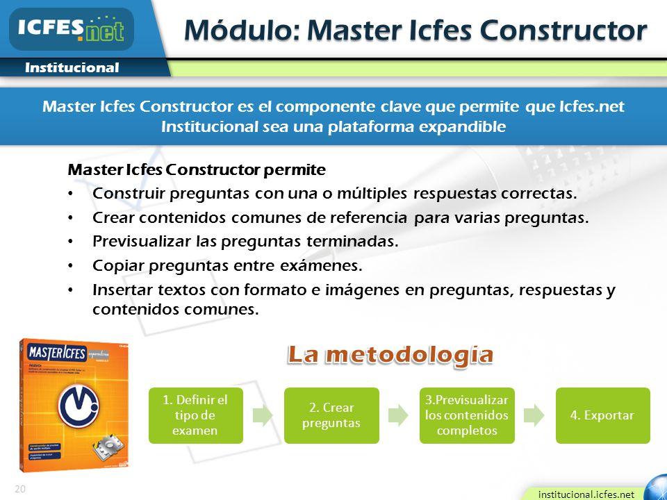 20 institucional.icfes.net Institucional Módulo: Master Icfes Constructor Master Icfes Constructor permite Construir preguntas con una o múltiples res