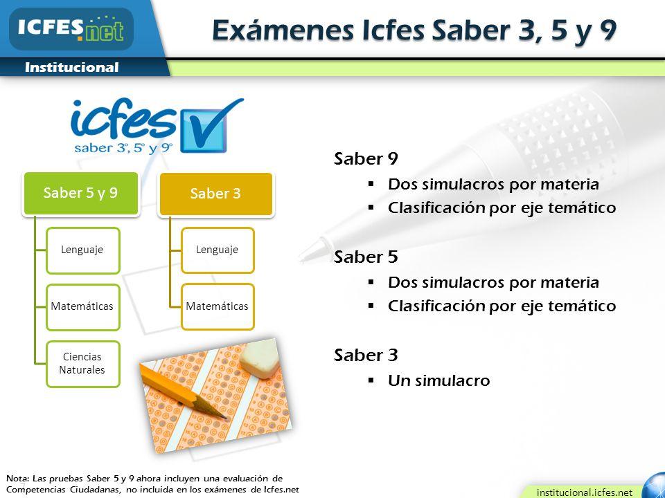 7 institucional.icfes.net Institucional Exámenes Icfes Saber 3, 5 y 9 Saber 5 y 9 LenguajeMatemáticas Ciencias Naturales Saber 9 Dos simulacros por ma