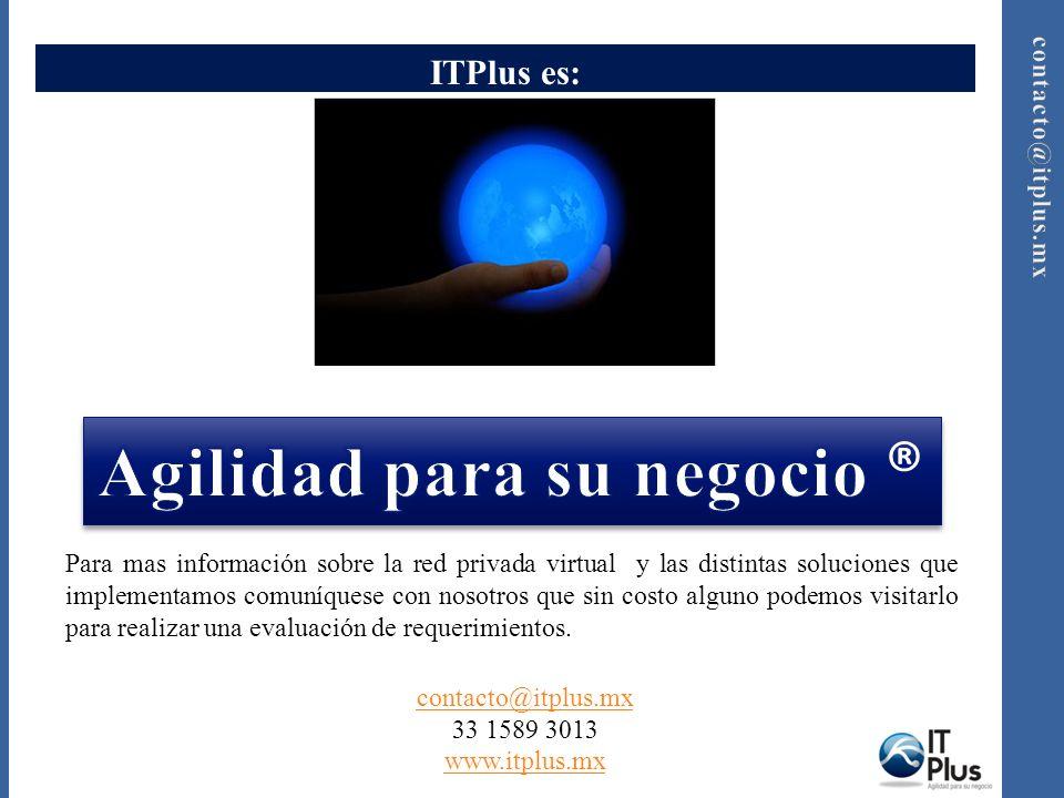 ITPlus es: Para mas información sobre la red privada virtual y las distintas soluciones que implementamos comuníquese con nosotros que sin costo alguno podemos visitarlo para realizar una evaluación de requerimientos.