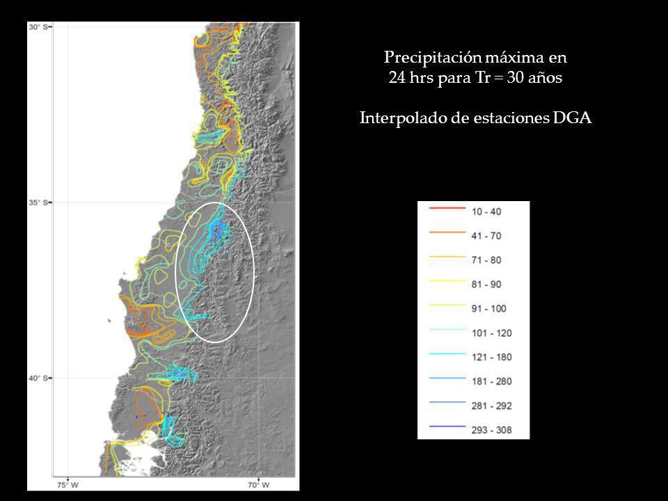 Precipitación máxima en 24 hrs para Tr = 30 años Interpolado de estaciones DGA