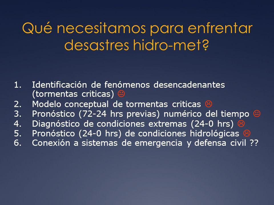Qué necesitamos para enfrentar desastres hidro-met? 1.Identificación de fenómenos desencadenantes (tormentas criticas) 2.Modelo conceptual de tormenta