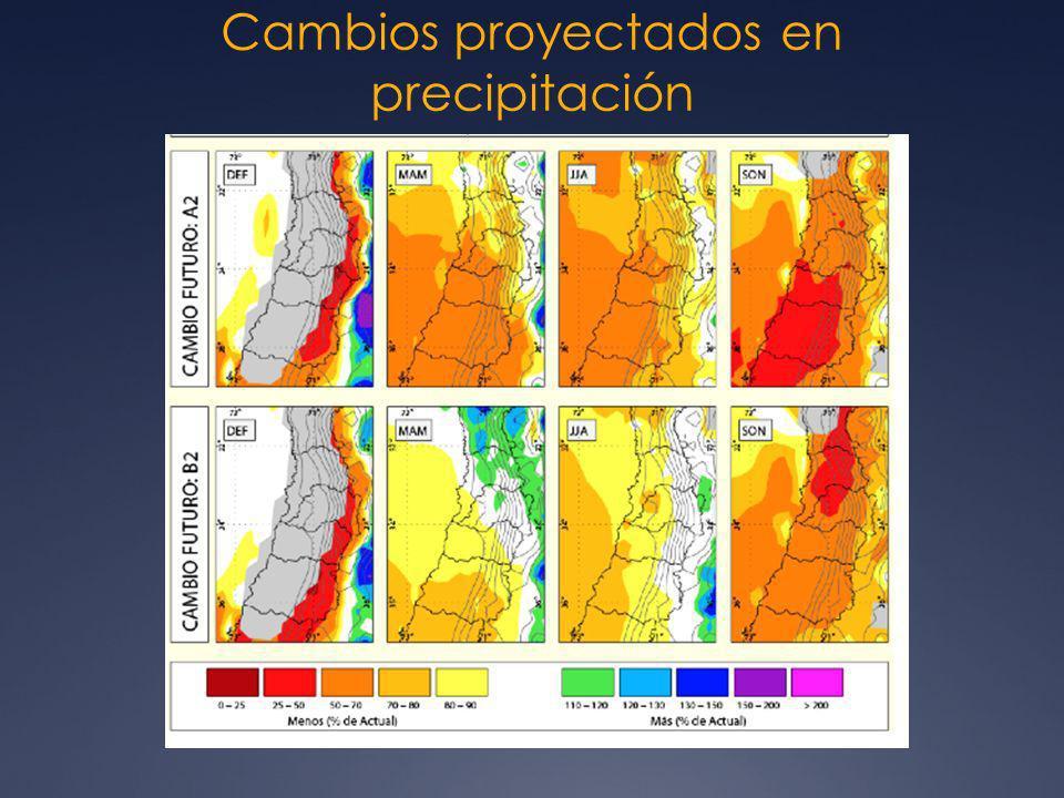 Cambios proyectados en precipitación