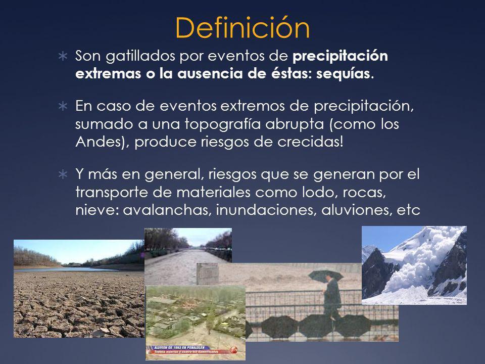 Definición Son gatillados por eventos de precipitación extremas o la ausencia de éstas: sequías. En caso de eventos extremos de precipitación, sumado