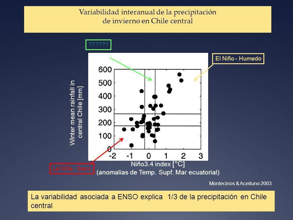 La variabilidad asociada a ENSO explica 1/3 de la precipitación en Chile central + Niño3.4 index [°C] (anomalias de Temp. Supf. Mar ecuatorial) Montec