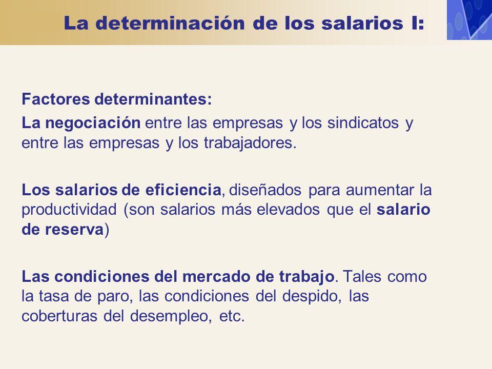 La determinación de los salarios I: Factores determinantes: La negociación entre las empresas y los sindicatos y entre las empresas y los trabajadores