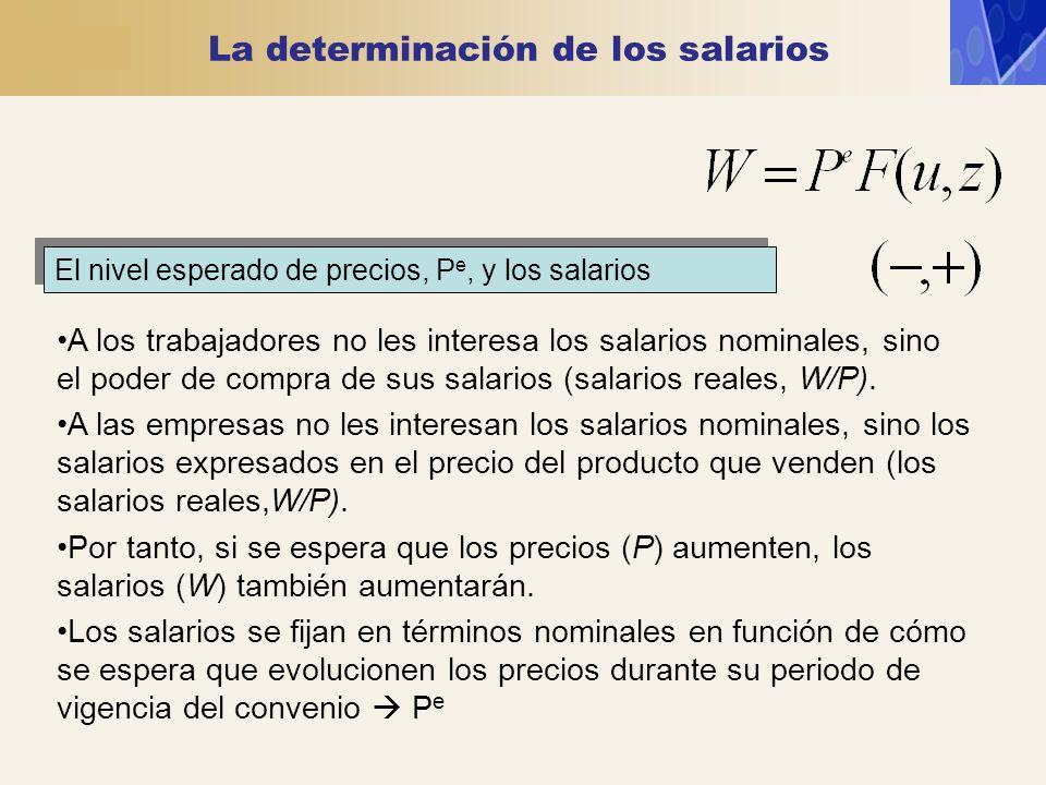 La determinación de los salarios El nivel esperado de precios, P e, y los salarios A los trabajadores no les interesa los salarios nominales, sino el