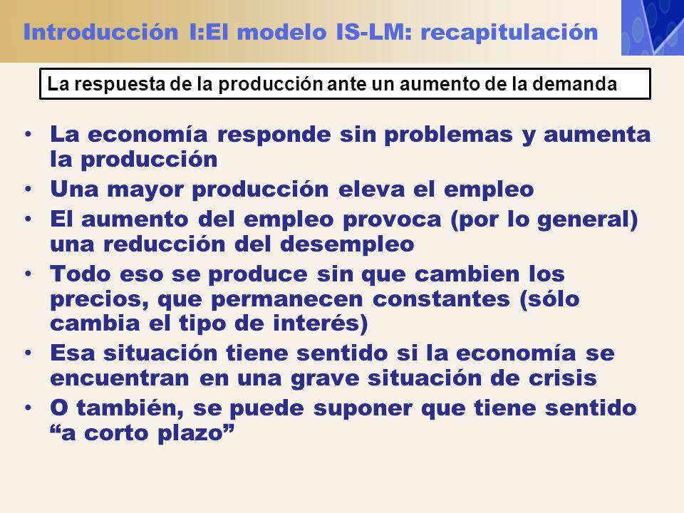 Introducción I:El modelo IS-LM: recapitulación La economía responde sin problemas y aumenta la producción Una mayor producción eleva el empleo El aume