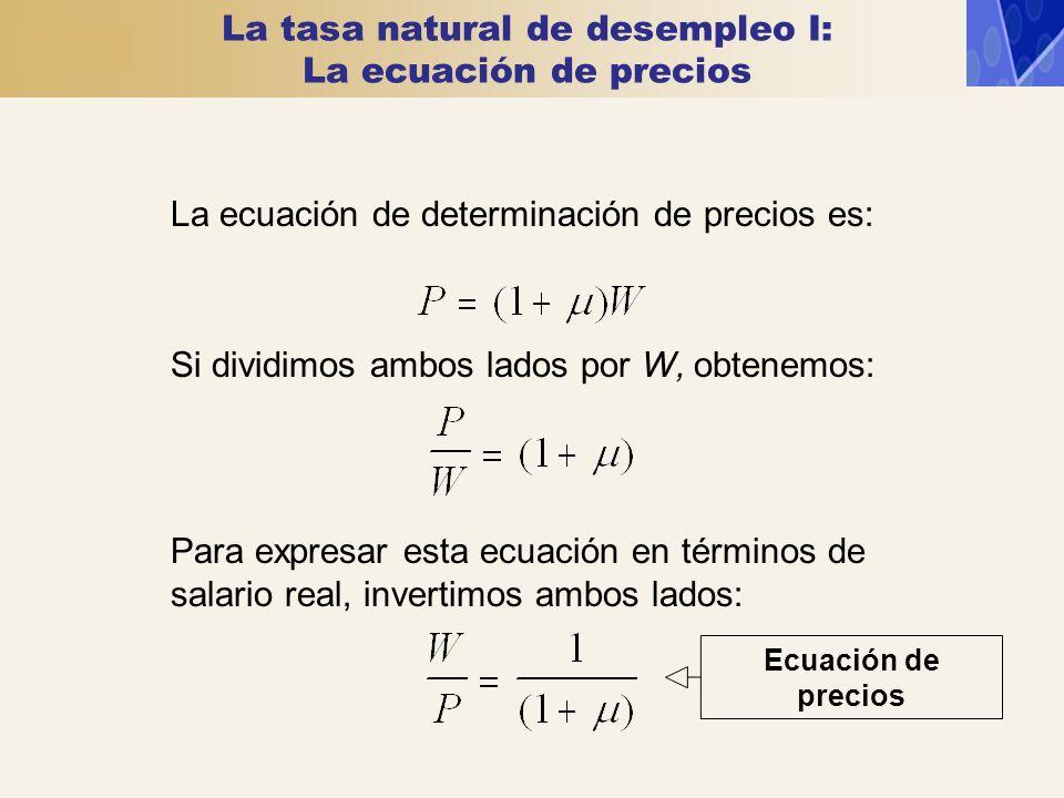 La tasa natural de desempleo I: La ecuación de precios La ecuación de determinación de precios es: Si dividimos ambos lados por W, obtenemos: Para exp
