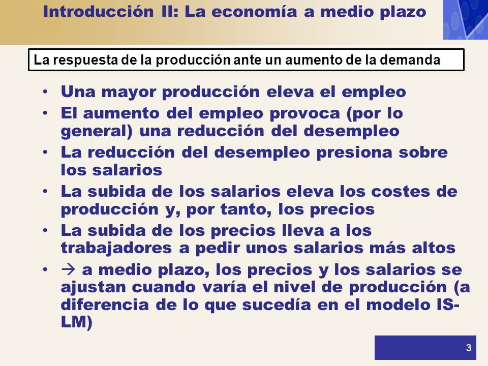 3 Introducción II: La economía a medio plazo Una mayor producción eleva el empleo El aumento del empleo provoca (por lo general) una reducción del des