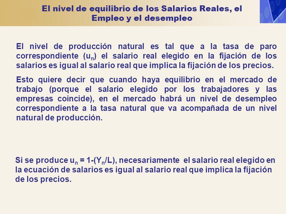 El nivel de equilibrio de los Salarios Reales, el Empleo y el desempleo El nivel de producción natural es tal que a la tasa de paro correspondiente (u