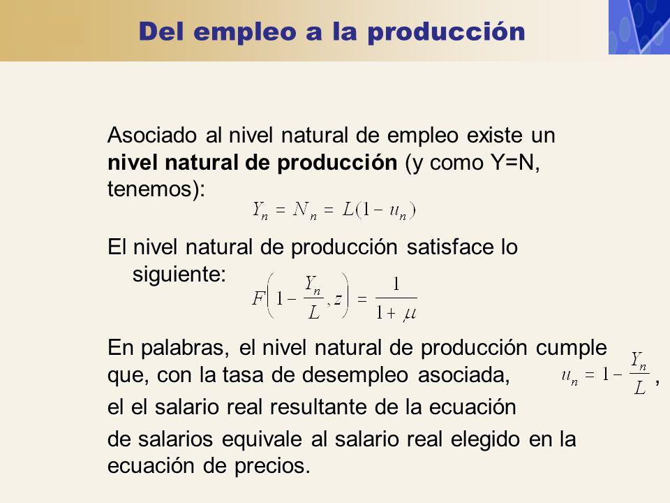 Del empleo a la producción Asociado al nivel natural de empleo existe un nivel natural de producción (y como Y=N, tenemos): El nivel natural de produc