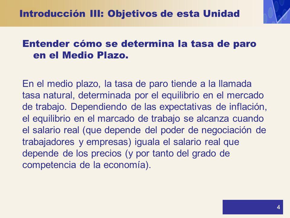 4 Introducción III: Objetivos de esta Unidad Entender cómo se determina la tasa de paro en el Medio Plazo. En el medio plazo, la tasa de paro tiende a