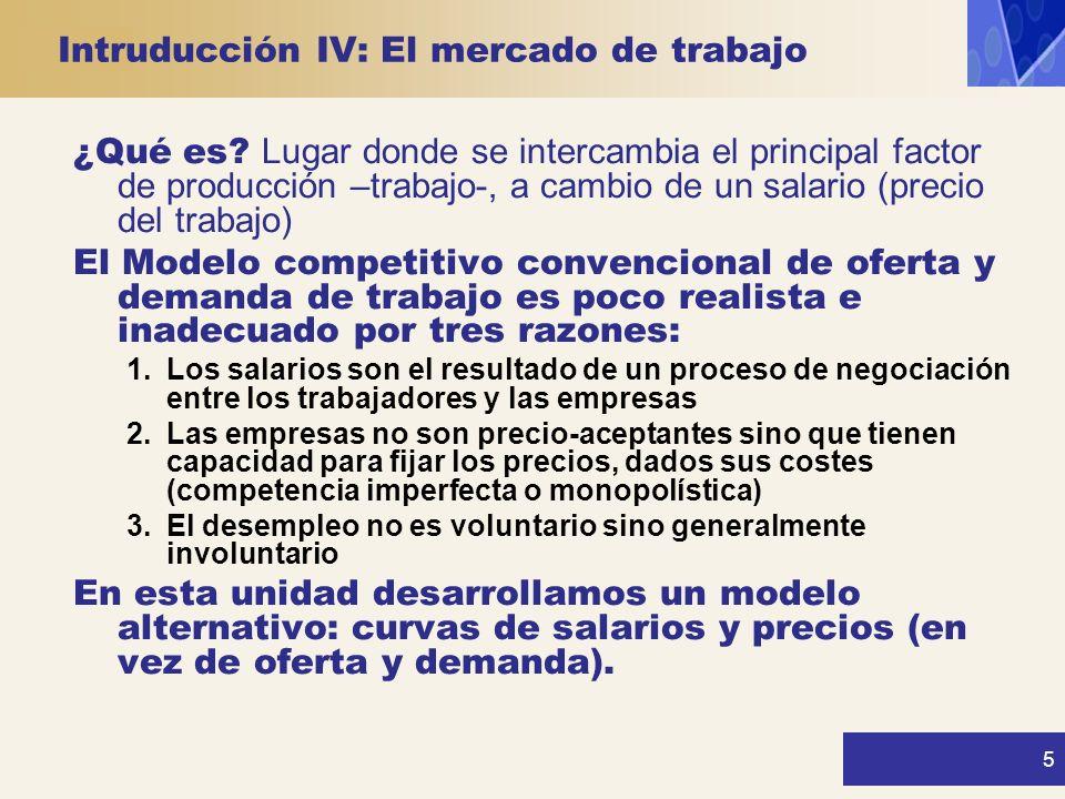 Intruducción IV: El mercado de trabajo 5 ¿Qué es? Lugar donde se intercambia el principal factor de producción –trabajo-, a cambio de un salario (prec