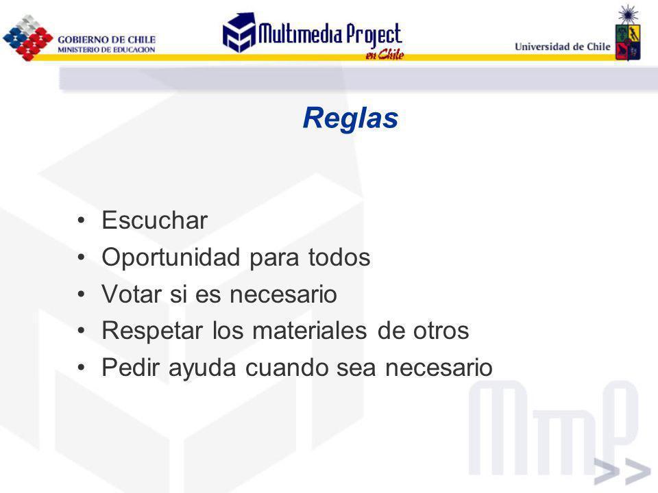 Reglas Escuchar Oportunidad para todos Votar si es necesario Respetar los materiales de otros Pedir ayuda cuando sea necesario