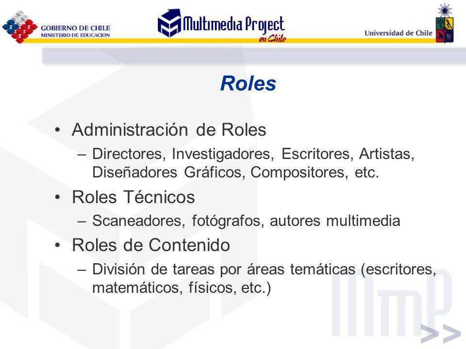 Roles Administración de Roles –Directores, Investigadores, Escritores, Artistas, Diseñadores Gráficos, Compositores, etc. Roles Técnicos –Scaneadores,
