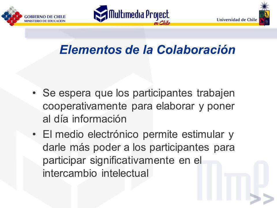 Elementos de la Colaboración Se espera que los participantes trabajen cooperativamente para elaborar y poner al día información El medio electrónico p