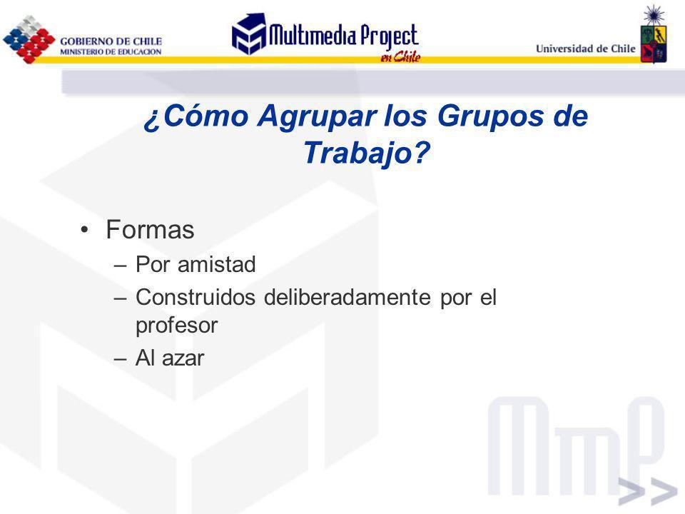 ¿Cómo Agrupar los Grupos de Trabajo? Formas –Por amistad –Construidos deliberadamente por el profesor –Al azar