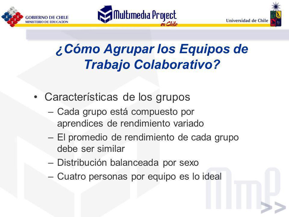 ¿Cómo Agrupar los Equipos de Trabajo Colaborativo? Características de los grupos –Cada grupo está compuesto por aprendices de rendimiento variado –El